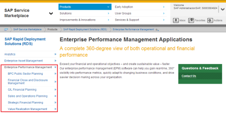 RDSs para productos SAP EPM
