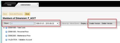 SAP BPC - TDH - Definición de las versiones