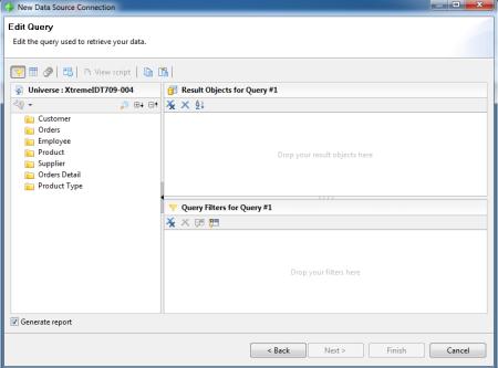 SAP Crystal Reports for Enterprise - Editor de Consultas para definir las fuentes de datos o conexión que se utilizará para diseñar un informe