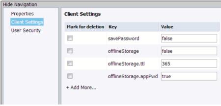 Ventana para personalizar las propiedades de la aplicación cliente de SAP BO BI Mobile en el CMC del BI 4.1