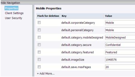 Ventana para personalizar las propiedades de SAP BO BI Mobile en el CMC del BI 4.1
