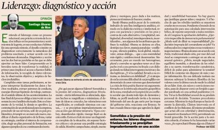 Artículo del diario Expansión del 18 de septiembre 2013. En Liderazgo; diagnóstico y acción (Santiago Alvares de Mon)