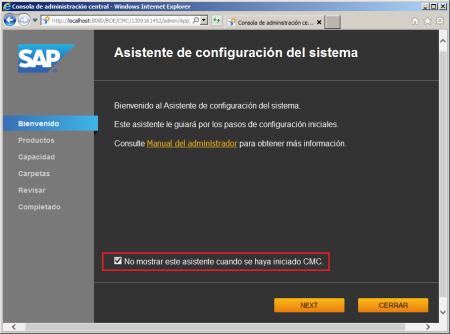 Desactivación de la ejecución automática del Asistente de Configuración del Sistema de BI41 al iniciar el CMC