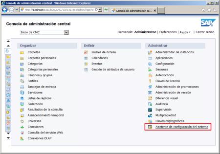 Ejecución manual del Asistente de Configuración del Sistema de BI41 desde el CMC