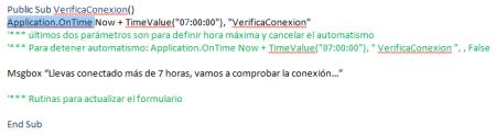 Ejemplo del uso del método OnTime del objeto Application de VBA para automatizar la ejecución de rutinas