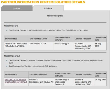 Ficha de la certificación de Microstrategy como proveedor de una solución BI para SAP HANA