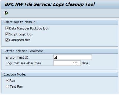 Pantalla inicial de UJF_FILE_SERVICE_CLEAN_LOGS de SAP BPC NW 10.0, utilidad para eliminar ficheros logs, temporales o dañados