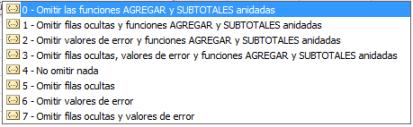 Segundo parámetro de la función AGGREGATE o AGREGAR de MS Excel 2010 y 2013