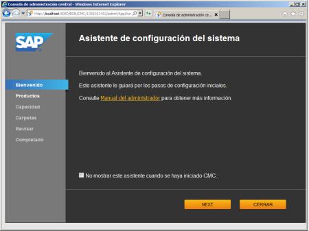 System Configuration Wizard - SCR01 - Bienvenida