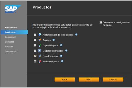 System Configuration Wizard - SCR03 - Retirando la selección de conservar configuración actual, se selecciona los productos a utilizar