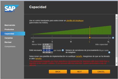 System Configuration Wizard - SCR04 - Selección de la capacidad de memoria que se utilizará, debe corresponder a la cantidad de memoria disponible del sistema