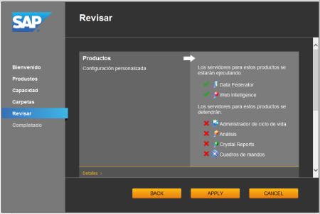 System Configuration Wizard - SCR06 - Revisiónde los parámetros especificados