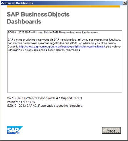 Ventana Acerca de SAP Dashboards 4.1