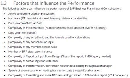 Factores que influyen en la pérdida de rendimiento en SAP BPC 10.0 NW