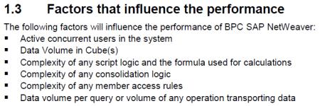 Factores que influyen en la pérdida de rendimiento en SAP BPC 7.5 NW