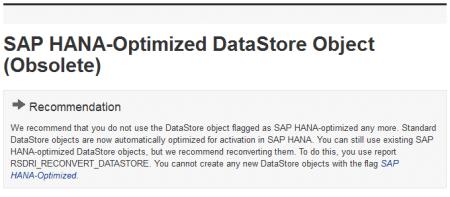 Imagen de la documentación sobre la optimización de DSO para SAP HANA