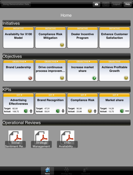 SAP SSM Mobile - SAP Strategy Management Mobile (en un iPad con iOS 5.0)