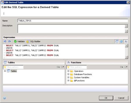 Tabla Derivada con valores constantes utilizando sentencias SQL (SELECT FROM DUAL)