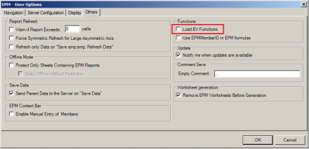 User Options del EPM Add-in 10.0 SP16