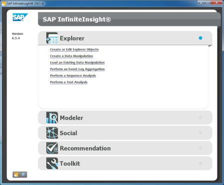 Pantalla inicial de SAP InfiniteInsight 6.5.4
