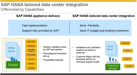 Principales diferencias entre capacidades SAP HANA Appliance y SAP HANA TDI