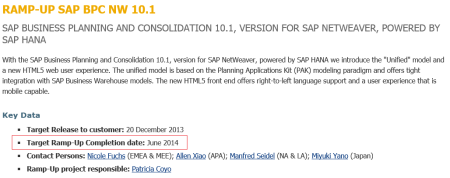 SAP BPC 10.1 NW - En Ramp-up hasta junio de 2014