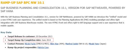 SAP BPC 10.1 NW - En Ramp-up hasta junio de 2014