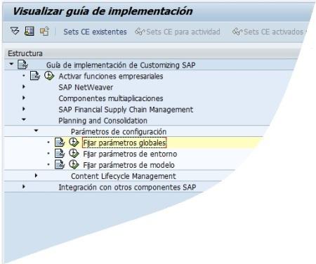 Ventana SPRO-IMG para SAP BPC 10.0 NW