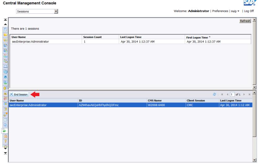 Botón End Session de SAP BusinessObjects BI 4.1 SP3 en el CMC  (Al parecer, sólo visible en nuevas instalaciones y no si se aplica la actualización)