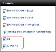 Hipervinculos en la zona Launch o Iniciar del entorno Web de SAP BPC 10.0 NW