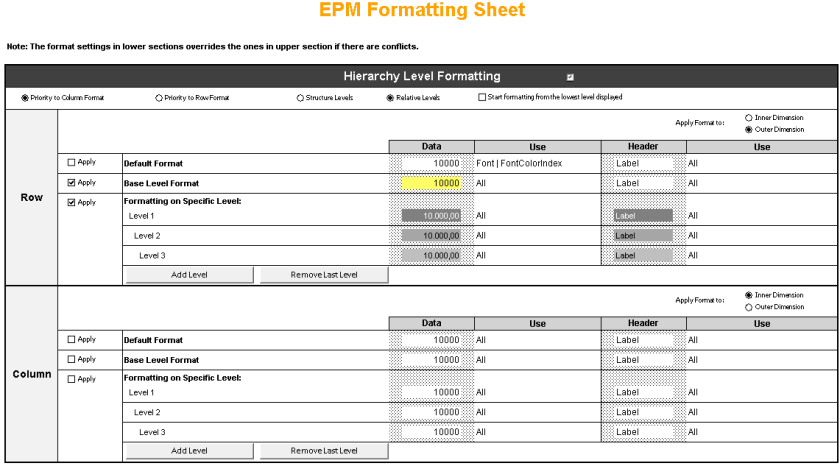 Hoja de formato del EPM Add-In (nombre por defecto EPMFprmattingSheet)