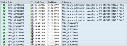Roles BW generados automaticamente según la definición - actividad desde la interfaz BPC
