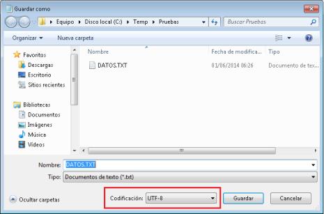 Grabar fichero de texto en formato UTF8