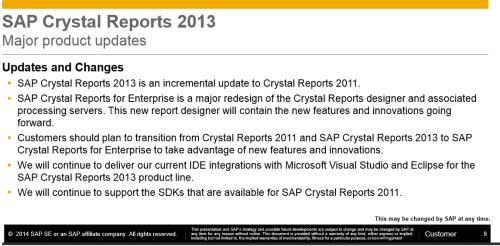 SAP Crystal Reports Enterprise como herramienta de reporting operativo e impresión, en lugar de la versión clásica 2013 o 2011