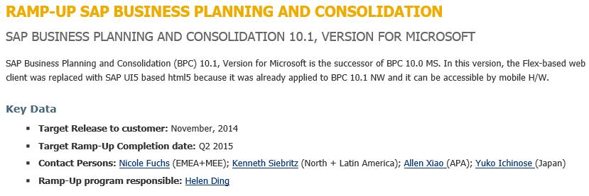 Hoja Ramp-up de SAP BPC 10.1 MS, liberación entre abril y junio de 2015