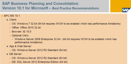 SAP BPC 10.1, configuración cliente y servidor recomendada
