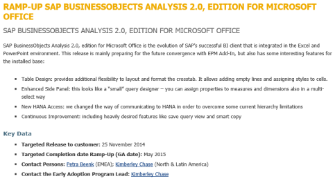 SAP Analysis 2.0 for MS Office en Ramp-up