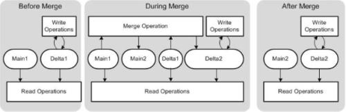 Antes, durante y luego de la ejecución de un proceso Delta Merge