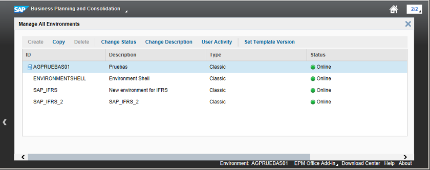 Ventana de Gestión de Environments en el nuevo BPC 10.1 SP2 (Clásico o Estándar) - Opción Create estaría habilitada en una instalación Unified o Embedded
