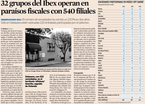 Empresas del Ibex que operan en paraísos fiscales (Articulo publicado en el diario Expansión en mayo 2015)