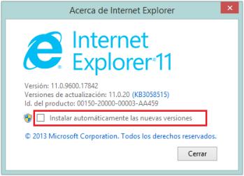Internet Explorer 11, desde el 12 de nero 2016, de uso obligatorio