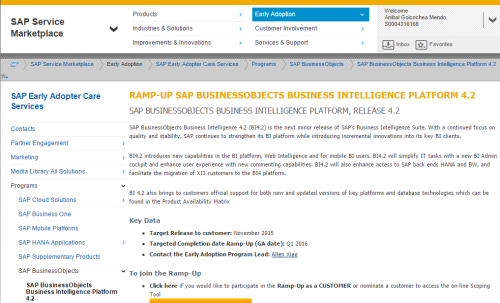 SAP BO BI 4.2 en ramp-up