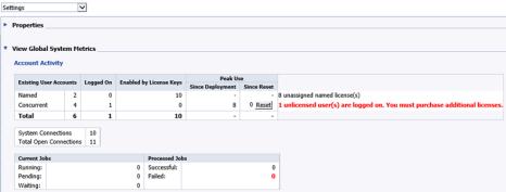Metricas de definición de usuarios de la opción Settings de la CMC (Consola de Administración Central)