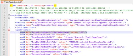 Modificando el fichero FPMXLClient.dll.config del EPM Add-In