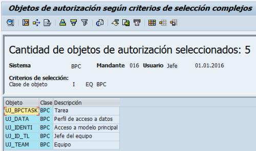 Objetos de seguridad de SAP BPC