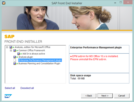SAP Analysis for MS Office, error EPM Add-In instalado
