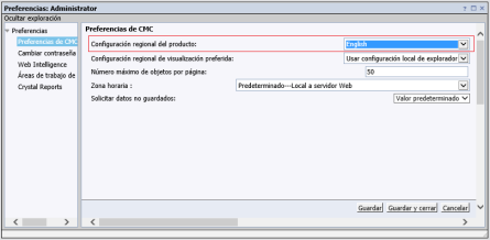 SAP BusinessObjects BI 4.2, cambiar las preferencias de idioma en la CMC para evitar error 500