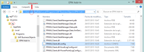 Ubicación del fichero FPMXLClient.dll.config del EPM Add-In